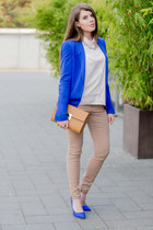 blue Zara blazer - tan Forever 21 bag - blue Buffalo pumps
