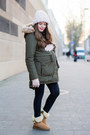 Bronze-uggs-boots-light-pink-asos-hat-olive-green-esprit-jacket