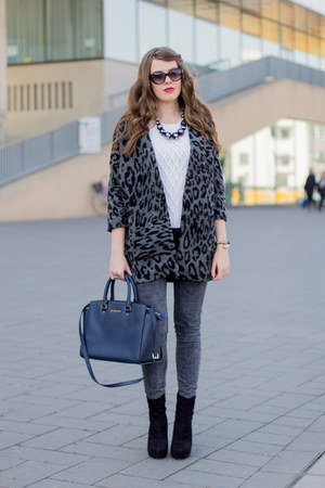 black asos boots - silver GINA TRICOT coat - white H&M sweater