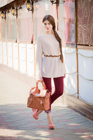 SIX bag - romashkashopru pants - romashkashopru jumper - H&M belt
