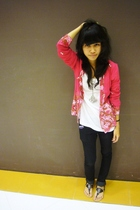 pink Malay Traditional Attire jacket - white Forever21 top - black Mango jeans -