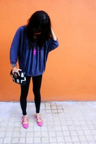 gray Indonesia top - black Forever 21 leggings - black liz claiborne accessories