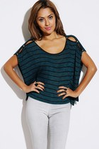 Teal Striped top