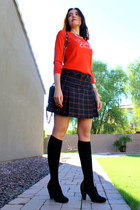plaid QMack skirt - stud London Rebel boots - carpe diem banana republic sweater