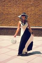 black calvin klein hat - forest green Black Bead dress - silver clutch bag