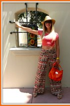 Marc Fisher bag - lace croptop Croptop shirt - aztec print Palazzo Pants pants