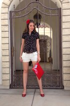 lipsticks top Bebe top - Ebay bag - American Rag shorts - Steve Madden pumps