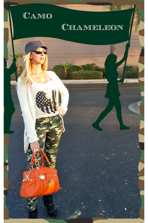 carrot orange bag - black boots - army green hat - ivory sweater - eggshell top