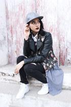 periwinkle cotton Levis dress - black jeggings Levis jeans