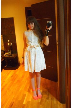 white asos dress - carrot orange pull&bear heels