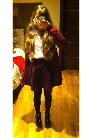 amethyst short H&M skirt - black shoes - bubble gum striped Zara shirt