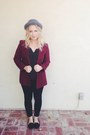 Heather-gray-forever-21-hat-maroon-thrifted-vintage-blazer