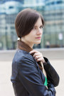 Silver-tweed-personal-creation-skirt-black-leather-bcbg-max-azria-jacket