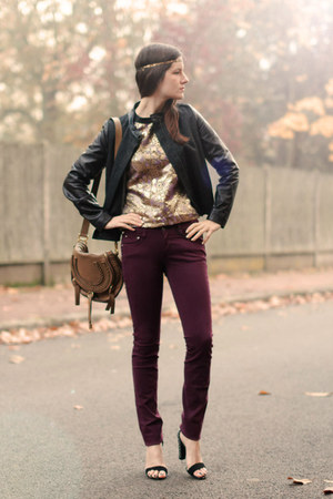 gold brocade Marni top - crimson Cimarron jeans - tan Chloe bag