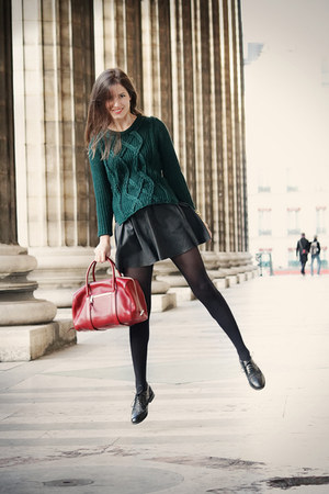 forest green Zara sweater - brick red Chloe bag - black leather Maje skirt