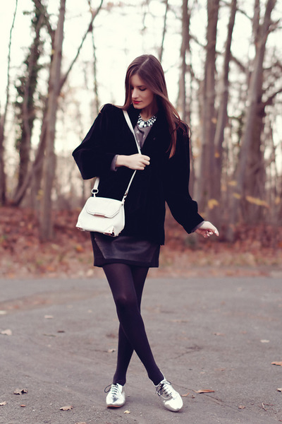 black velvet Yves Saint Laurent jacket - white Alexander Wang bag