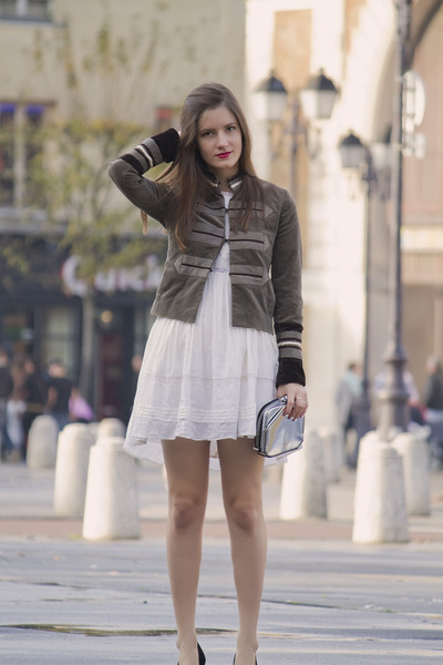 army green SANDRO jacket - white diabless dress - silver Alexander Wang bag