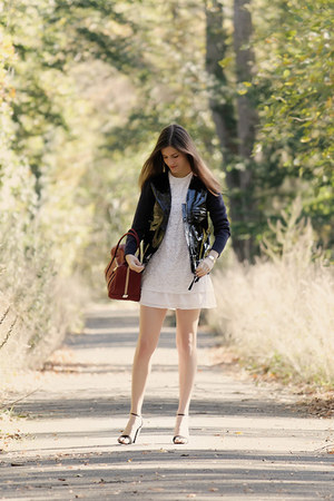black Marni jacket - white Zara dress - brick red Chloe bag