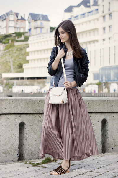 light pink accordion pleat American Apparel skirt - white Alexander Wang bag