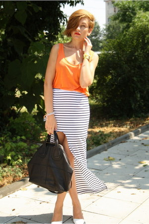 black Givenchy bag - carrot orange Zara top - white romwe skirt - white Zara hee