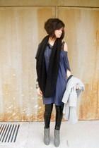 blue Topshop dress - black Zara leggings - black H&M scarf - black intimissimi i