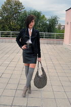 black leather skirt vintage skirt - gray asos boots - black Ekoclo jacket