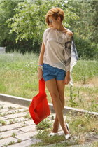 white Zara shoes - carrot orange H&M bag - blue Zara shorts - white Prada sungla