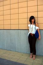 blue suede chain bag Zara accessories - beige unknown shoes