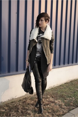 dark green romwe jacket - black Givenchy bag - gray romwe cardigan