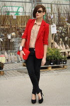 black Zara jeans - red Public Beware blazer - tan American Apparel shirt - red H