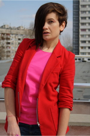 red Public Beware blazer - black Zara boots - red H&amp;M bag - hot pink top