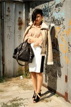 black Zara wedges - tan New Yorker jacket - nude American Apparel shirt