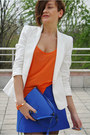 Black-zara-boots-white-zara-blazer-blue-asos-bag-carrot-orange-asos-bracel