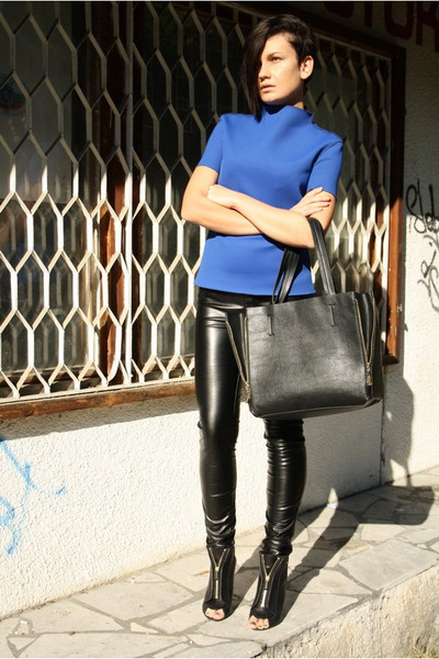blue Zara top - black New Yorker pants - black Givenchy sandals