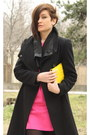 Hot-pink-dress-black-zara-coat-yellow-h-m-bag