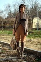 tan boots - nude dress - light brown Public Beware jacket - tan bag