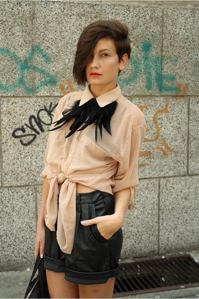 black Givenchy bag - camel asos boots - nude American Apparel shirt
