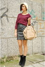 Off-white-hand-made-hat-maroon-acne-sweater-beige-givenchy-bag