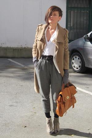 white Ebay shirt - beige asos shoes - beige Mango coat - white Zara blazer