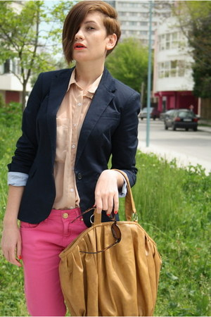 navy Zara blazer - tan American Apparel shirt - camel Zara bag - hot pink Zara p
