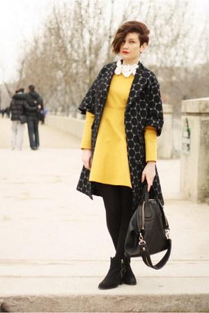 black Marni at H&M coat - yellow COS dress