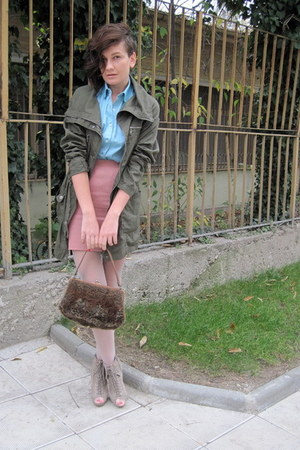 brown Mango bag - beige asos boots - olive green parka Stradivarius jacket