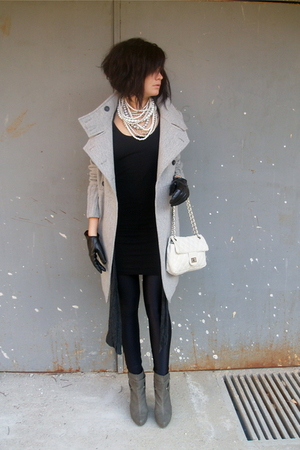 gray Stradivarius boots - black American Apparel dress - gray Zara coat