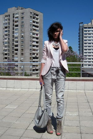 gray pull&amp;bear pants - pink Zara blazer - beige asos shoes - gray Promod accesso
