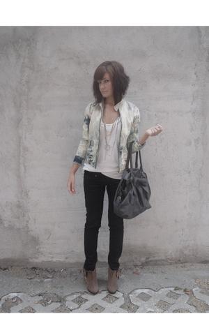 beige Aldo shoes - black trn jeans - blue bleached denim DIY jacket