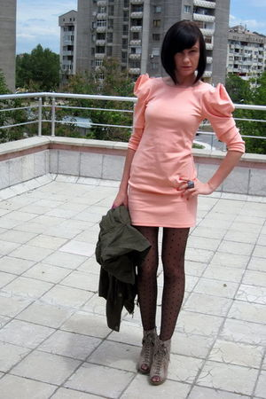 pink H&M dress - brown asos boots - green Stradivarius coat
