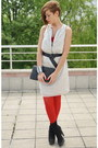 White-burberry-dress-red-romwe-tights-black-asos-bag-red-american-apparel-