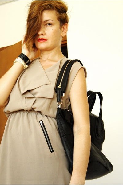 beige romwe dress - black Givenchy bag - black Zara sandals