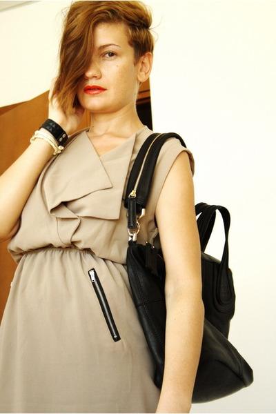beige romwe dress - black Givenchy bag - black Zara sandals