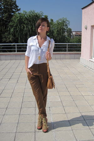 brown asos shoes - white Ekoclo shirt - brown asos bag - brown Vero Moda pants